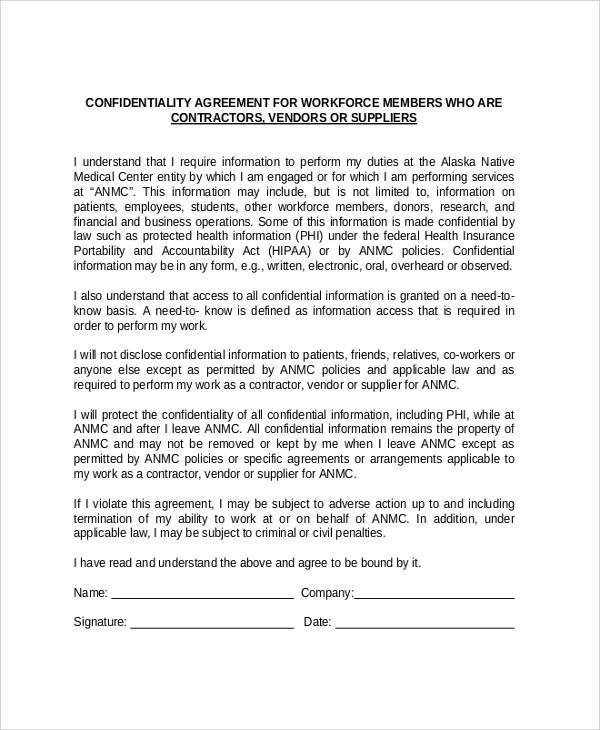 Sample Vendor Confidentiality Agreement - 7+ Documents in PDF, Word - sample vendor contract