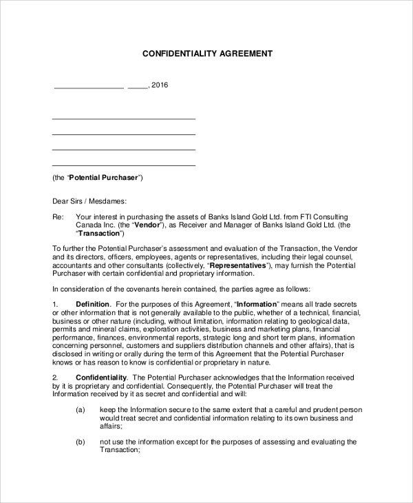 Confidentiality Agreement  17  Basic Confidentiality