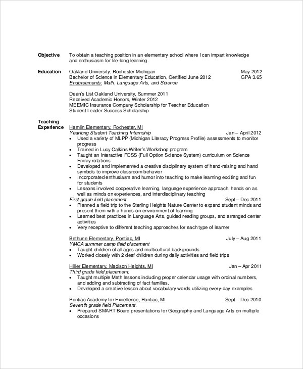 7+ Sample Resume Objectives Sample Templates - Teachers Resume Objective