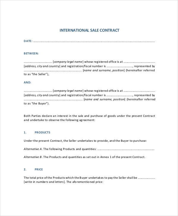 Sample Sales Contract - 9+ Documents In PDF, Word