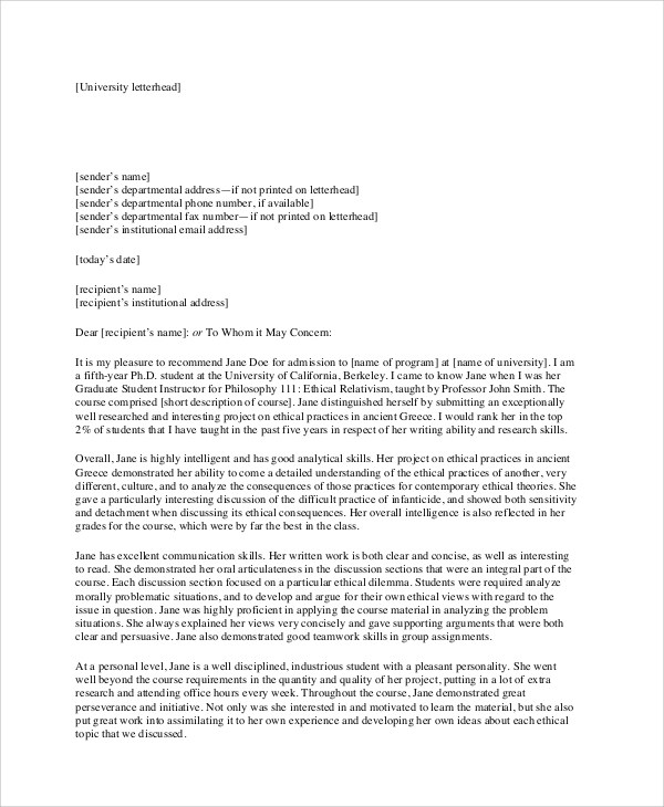 7+ Sample Recommendation Letter Formats Sample Templates