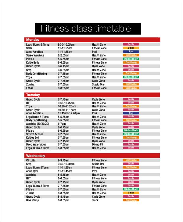Sample Schedules - Class Schedule 16+ microsoft word 2010 format - sample schedules - class schedule