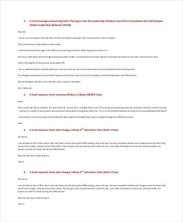 Sample Condolence Message - 7+ Documents In PDF, Word