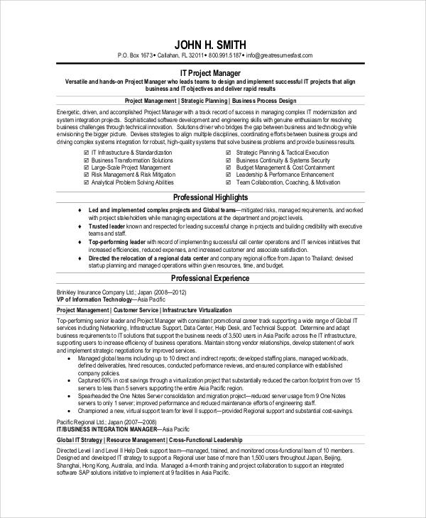 6+ IT CV Samples Sample Templates - sample cv