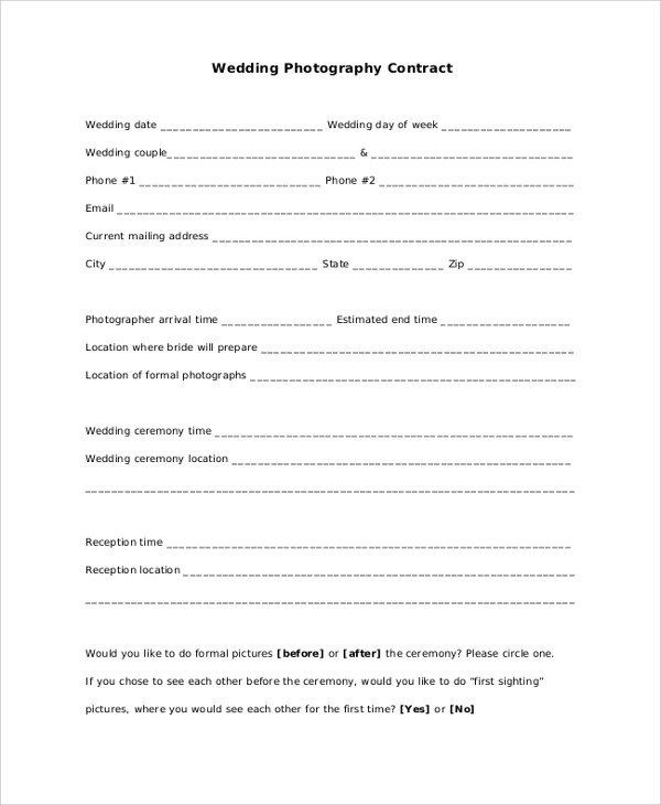 7+ Sample Photography Contracts \u2013 PDF, DOC Sample Templates