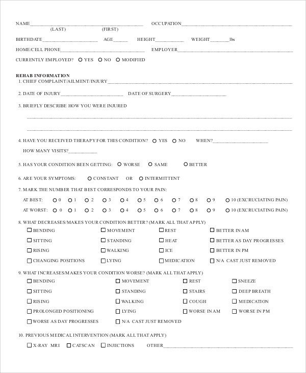 8+ Sample Physical Assessment Forms Sample Templates