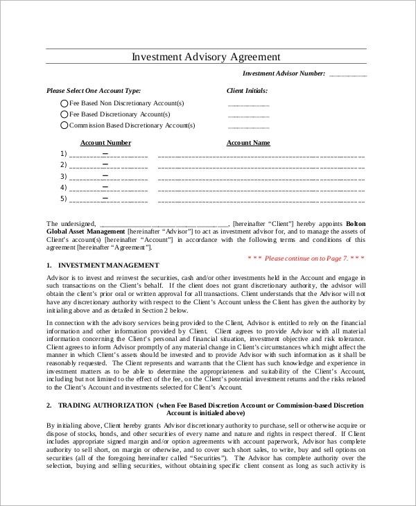 Sample Investment Management Agreement - 6+ Documents in PDF