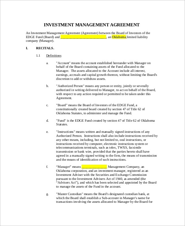 Sample Investment Management Agreement - 6+ Documents in PDF - management agreement