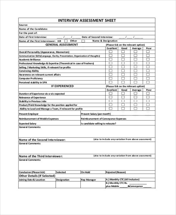 7+ Sample Interview Assessment Forms Sample Templates - technical assessment template