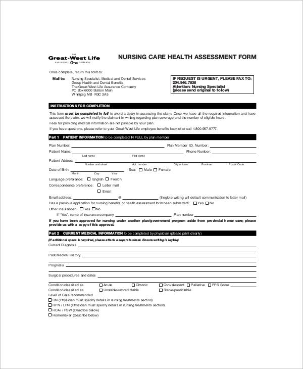 7+ Sample Nursing Assessment Forms Sample Templates