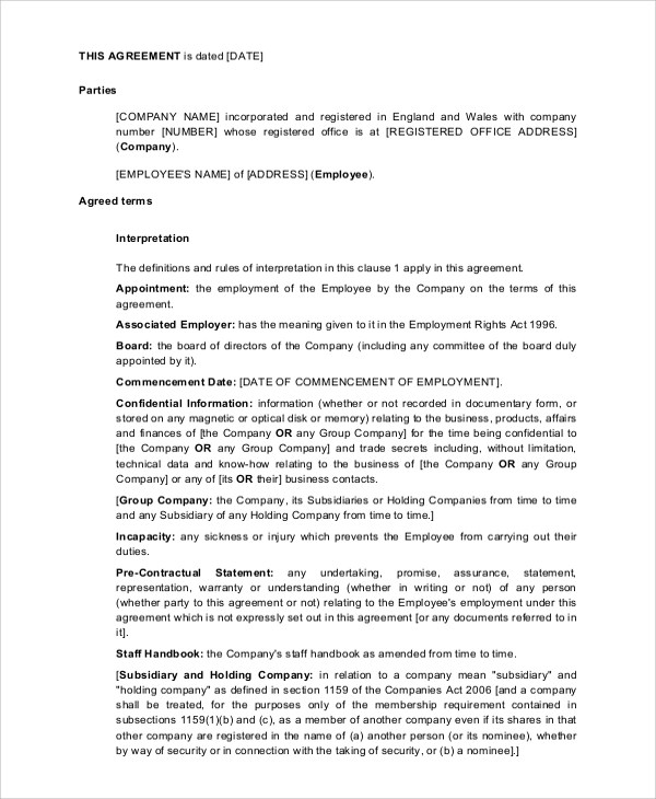 Sample Employment Contract - 6+ Documents in PDF, WORD - executive employment contract