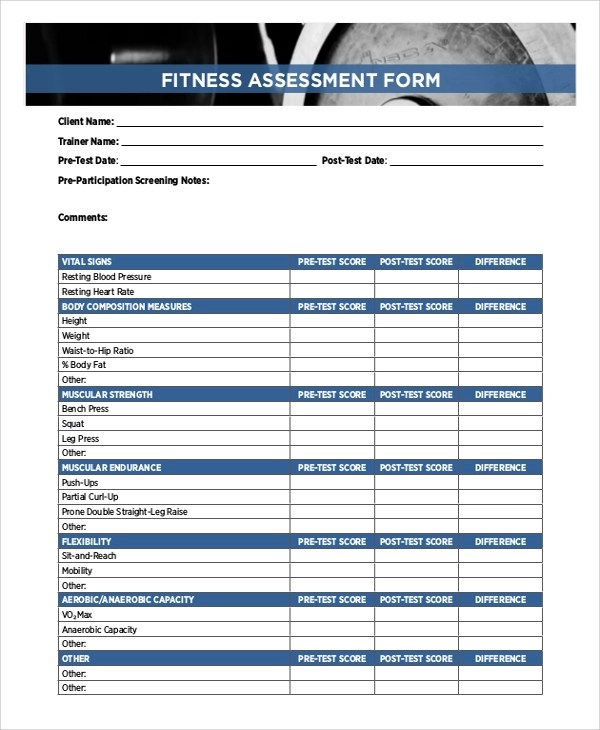 Sample Training Assessment Form - 5+ Documents In PdfFitness - training assessment form