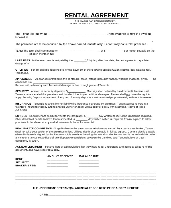 7+ Sample Rental Agreement Contracts Sample Templates - Sample Lease Agreement Form