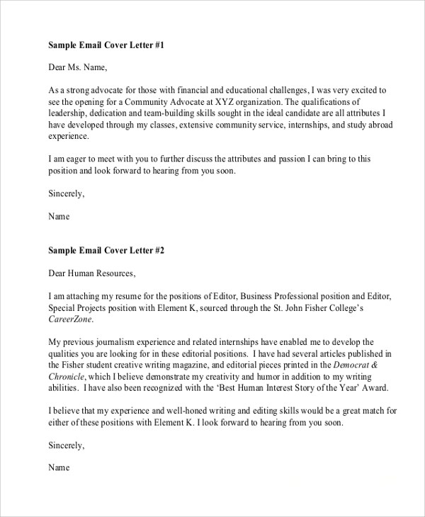 7+ Sample Resume Cover Letter Formats Sample Templates