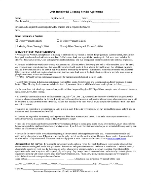 6+ Sample Residential Service Contracts Sample Templates - service contract