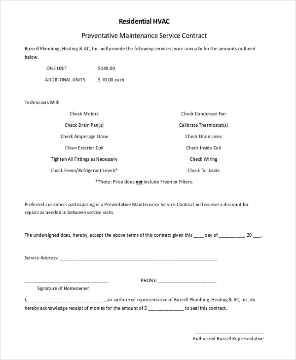 6+ Sample Residential Service Contracts Sample Templates - service contract sample