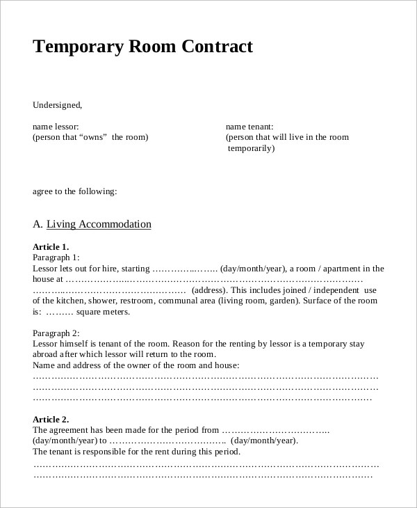 7+ Sample Room Rental Contracts Sample Templates