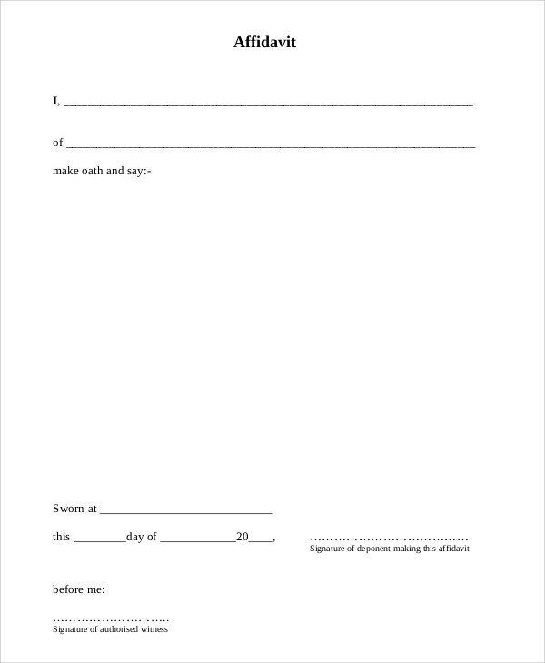 7+ Sample Sworn Affidavit Forms Sample Templates - printable affidavit form