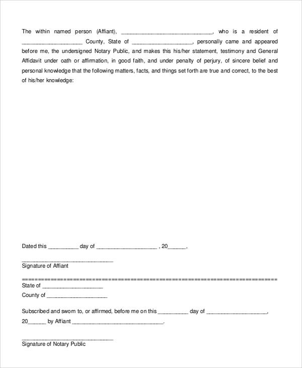 7+ Sample Sworn Affidavit Forms Sample Templates - affidavit statement of facts