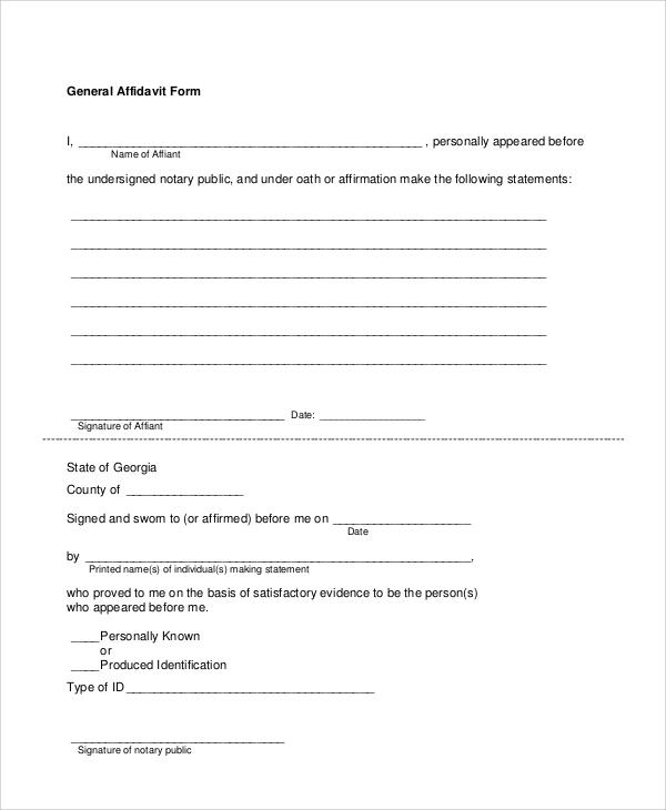 Sample Sworn Affidavit Form - 6+ Documents in PDF