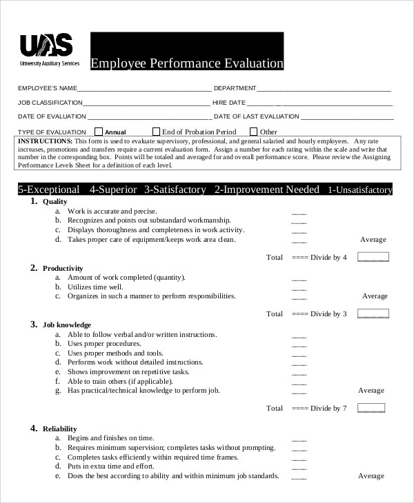 Performance Evaluation Samples and Templates - 7+ Documents In PDF, WORD
