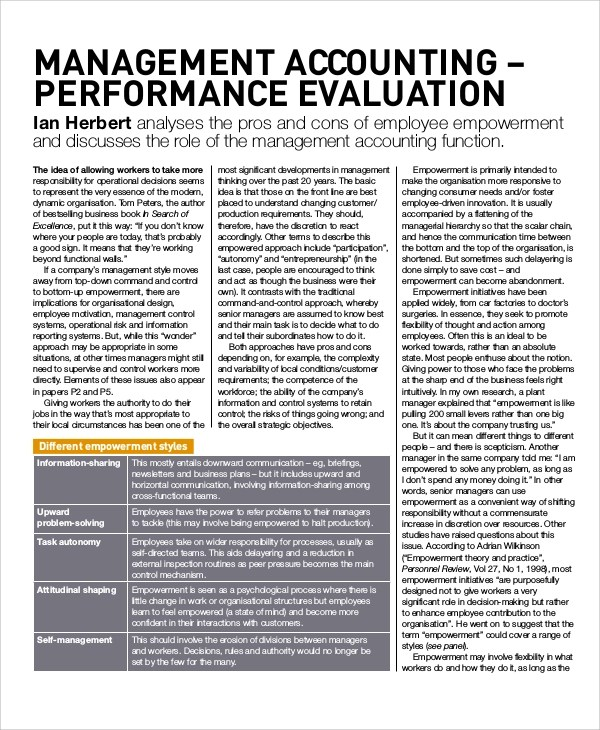 8+ Performance Evaluation Samples and Templates Sample Templates