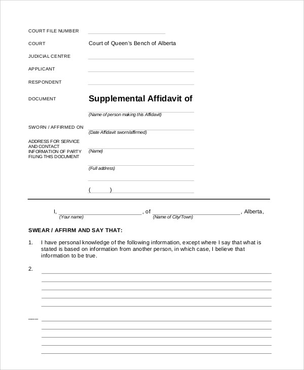 7+ Sample Blank Affidavit Forms - PDF