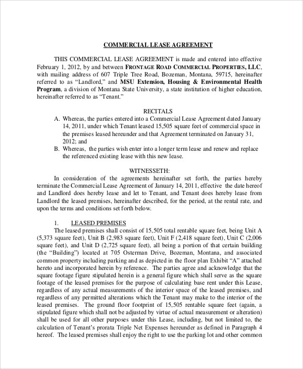 commercial office lease agreement form printable sample - sample commercial lease agreement
