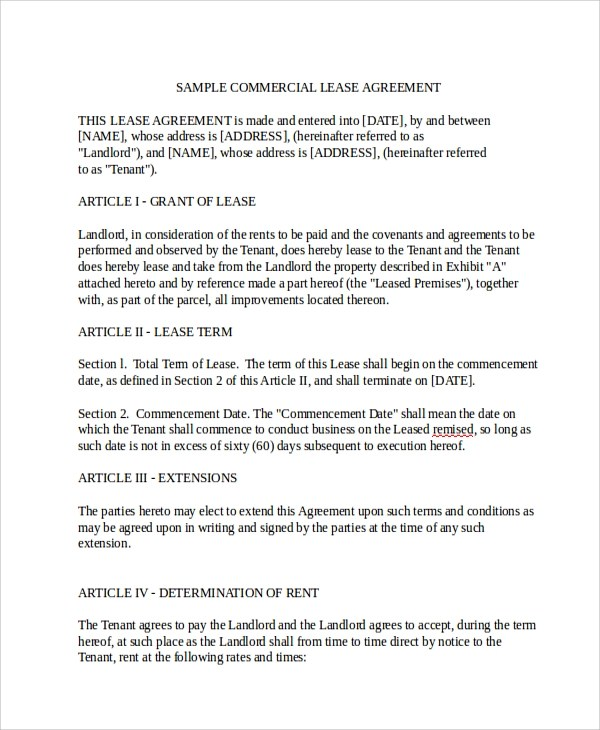 8+ Sample Commercial Lease Agreements Sample Templates - commercial lease agreement sample