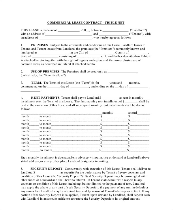 Sample Commercial Lease Agreement - 7+ Documents In PDF - sample office lease agreement