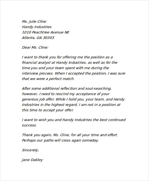 rescind offer letter template - Jolivibramusic