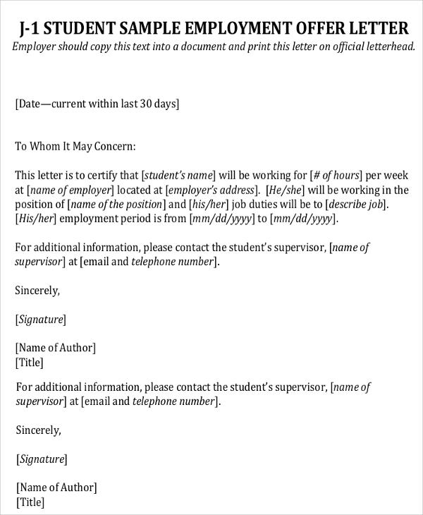 9+ Sample Employment Offer Letters Sample Templates - employment offer letter