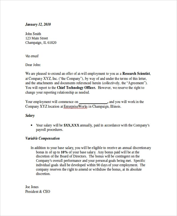 9+ Sample Employment Offer Letters Sample Templates