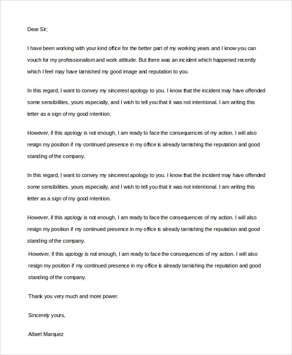 6+ Sample Sincere Apology Letters Sample Templates