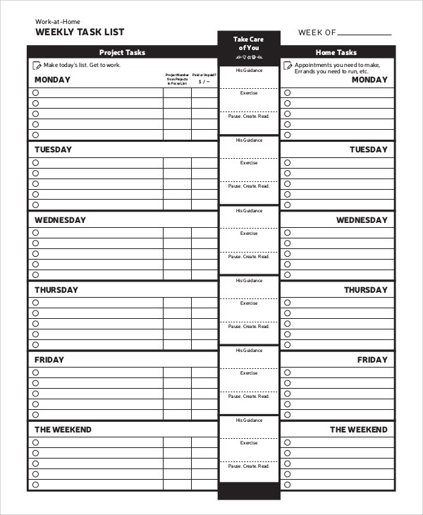 Sample Task List   8+ Documents In PDF, WORD   Project Task List Template