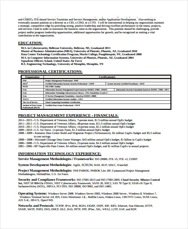 8+ Sample Information Security Analyst Resumes Sample Templates - cyber security resume
