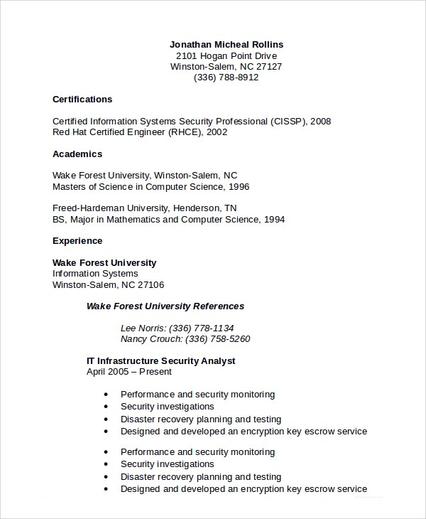 8+ Sample Information Security Analyst Resumes Sample Templates
