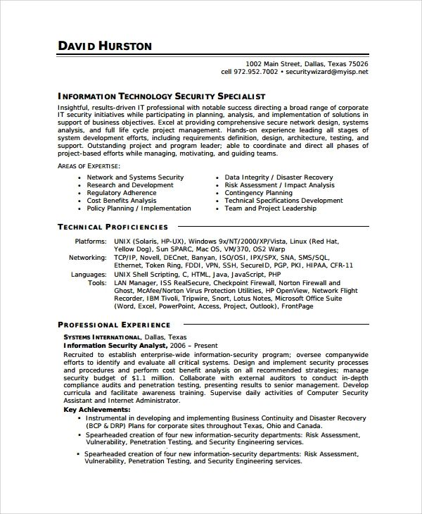 security analyst resume templates