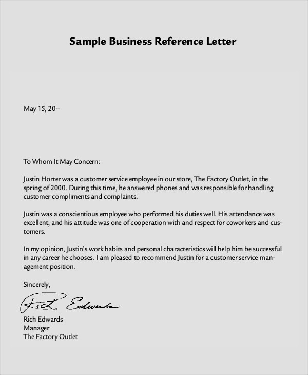 8+ Reference Letter Samples, Examples, Templates