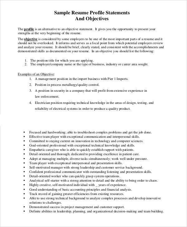 profile statement example for resumes