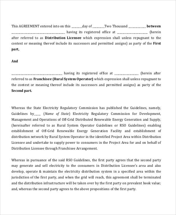 Sample Franchise Agreement Form - 6+ Documents in PDF