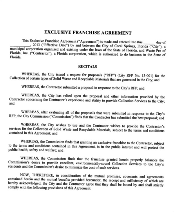 Exclusive Franchise Agreement Choice Image - Agreement Letter Format - sample franchise agreement