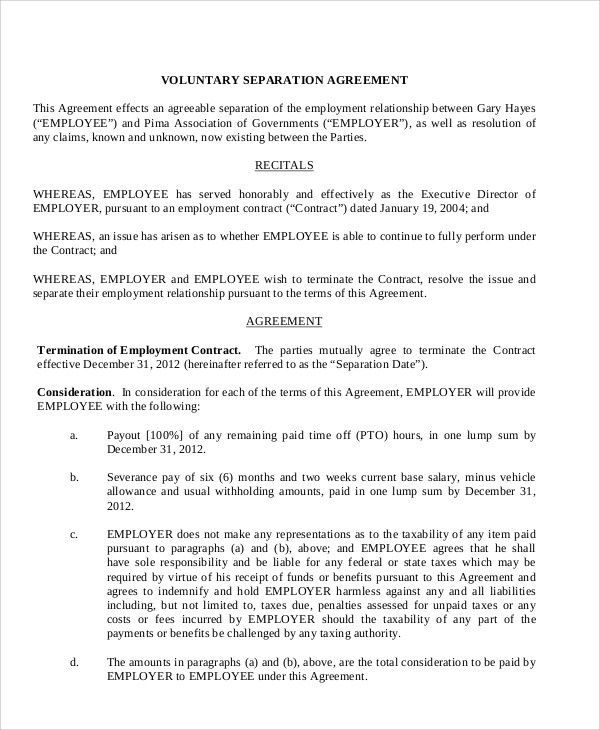Sample Employment Separation Agreement - 8+ Documents in PDF, WORD