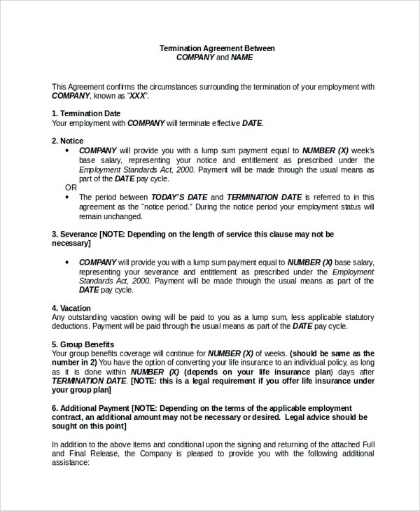 Employment Release Agreement termination agreement template lease