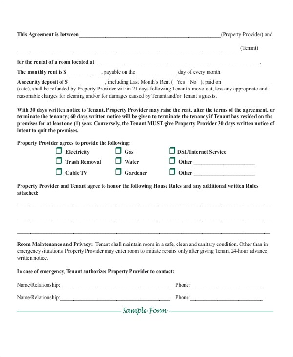 Doc#722952 Rent Contract u2013 Printable Sample Rental Lease - rent contract templates