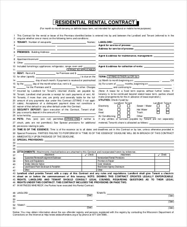 8+ Apartment Rental Contract Samples Sample Templates - apartment rental contract sample
