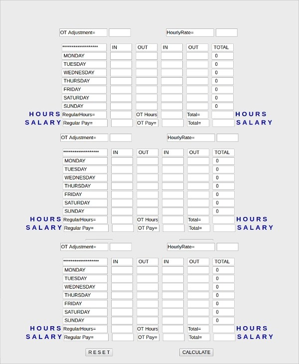 Sample Time Card Calculator - 19+ Documents in PDF, Excel