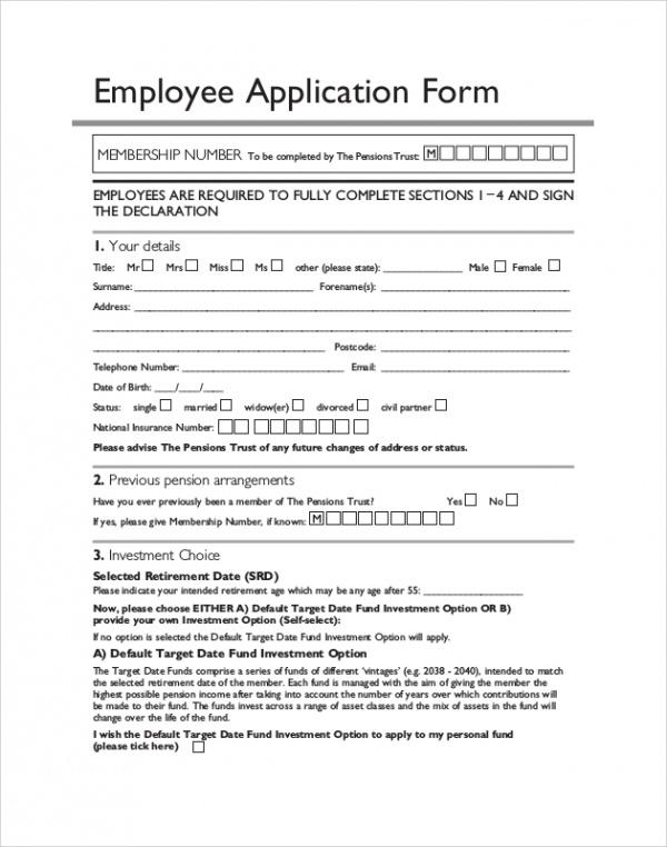 6+ Sample Target Application Forms Sample Templates