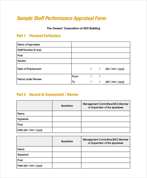8+ Sample Employee Appraisal Forms Sample Templates - format of performance appraisal form