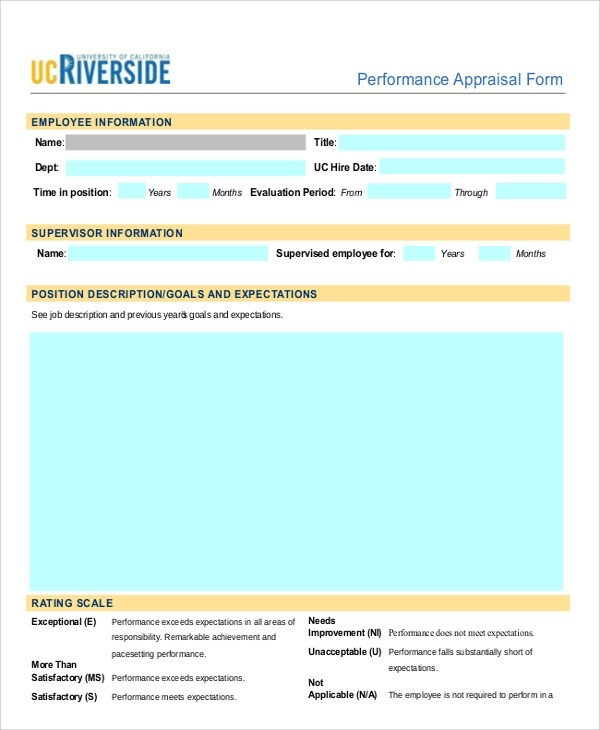 7+ Sample Performance Appraisal Forms Sample Templates - free appraisal forms